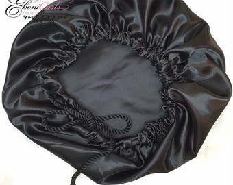 "Satin Drawstring Ebonnet ""Onyx Nights"""