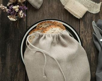 Reusable Food bag, natural linen bread bag, linen cloth bag, storage linen bag custom size