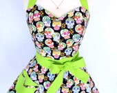 Day of the Dead Sugar Skulls Retro Apron with Chartreuse Lime Green Rockabilly