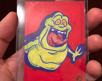 Original Ghostbusters Slimer Sketch Trading Card - JD Card No. 49
