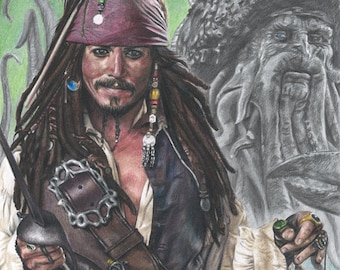 """Print of Original Colored Pencil Drawing of Johnny Depp as Jack Sparrow from """"Pirates of the Caribbean"""" with Davy Jones and The Black Pearl"""