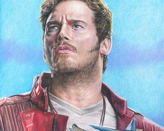 Drawing Print of Chris Pratt as Star Lord/Peter Quill in Guardians of the Galaxy Vol. 2