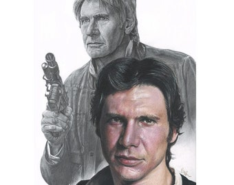 Drawing Print of Colored Pencil Drawing of Harrison Ford as Han Solo in Star Wars (8.5 x 11)