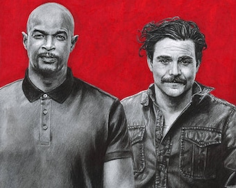 Color Drawing Print of Damon Wayans and Clayne Crawford as Murtaugh and Riggs in TV's Lethal Weapon (8.5 x 11)