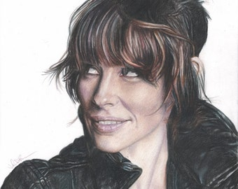 Color Drawing Print of Evangeline Lilly from LOST / Ant-Man / The Hobbit