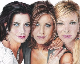 Friends Monica, Rachel, Phoebe Full Color Drawing Print (8.5 x 11) - Courtney Cox, Jennifer Aniston, Lisa Kudrow