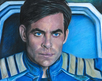 Drawing of Chris Pine as Captain Kirk in Star Trek: Beyond