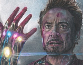 Iron Man (Robert Downey Jr) from Avengers: Endgame Colored Pencil Drawing Print