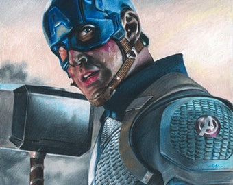 Captain America in Avengers Endgame (Chris Evans) Colored Pencil Drawing Print
