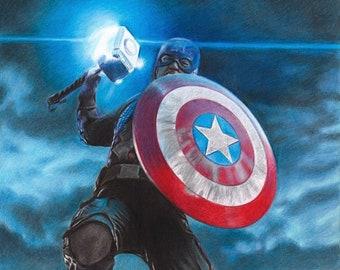 Captain America in Avengers Endgame (Chris Evans) Colored Pencil Drawing Print (Jump)