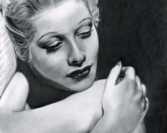 Lucille Ball Pencil Drawing Print (8.5 x 11)