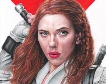 "Natasha (Scarlett Johansson) in ""Black Widow"" Colored Pencil Drawing Print"