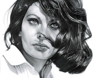 Sofia Loren Drawing Print