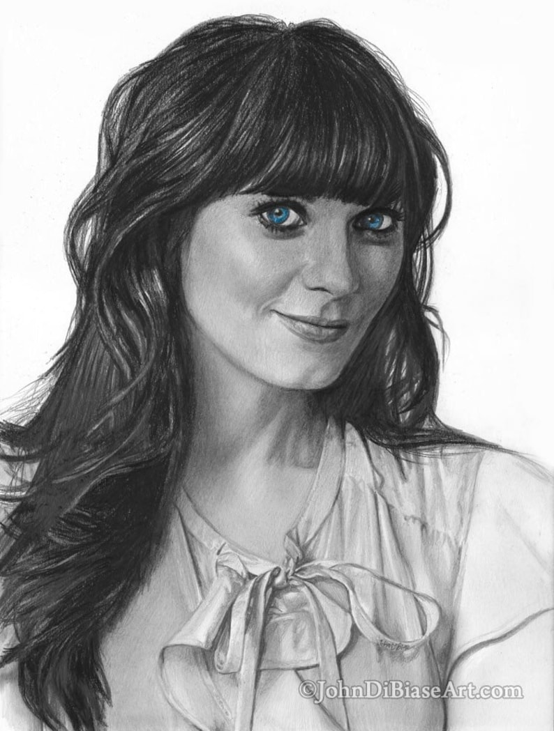 Print of Pencil Drawing of Zooey Deschanel 8.5 x 11 image 0