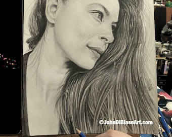 ORIGINAL Kristin Kruek Pencil Drawing (9 x 12) - NOT A PRINT