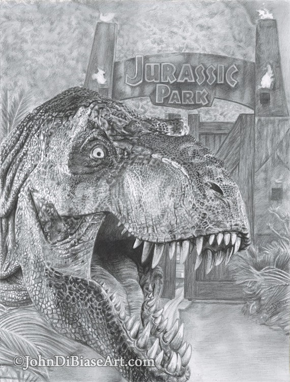 drawing print of t rex from jurassic park jurassic world etsy