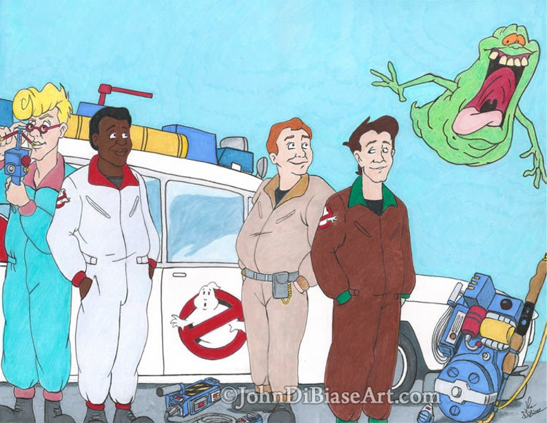 Real Ghostbusters Colored Pencil and Marker Drawing Print image 0