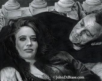 Original Drawing of Daniel Craig as James Bond and Eva Green as Vesper Lynd in Casino Royale (NOT a print)