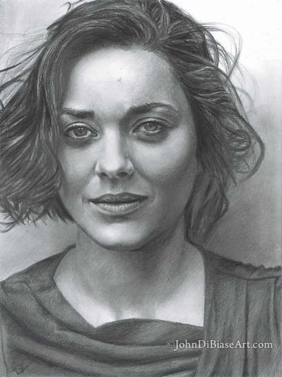 Drawing Print Of Marion Cotillard Inception The Dark Knight Rises