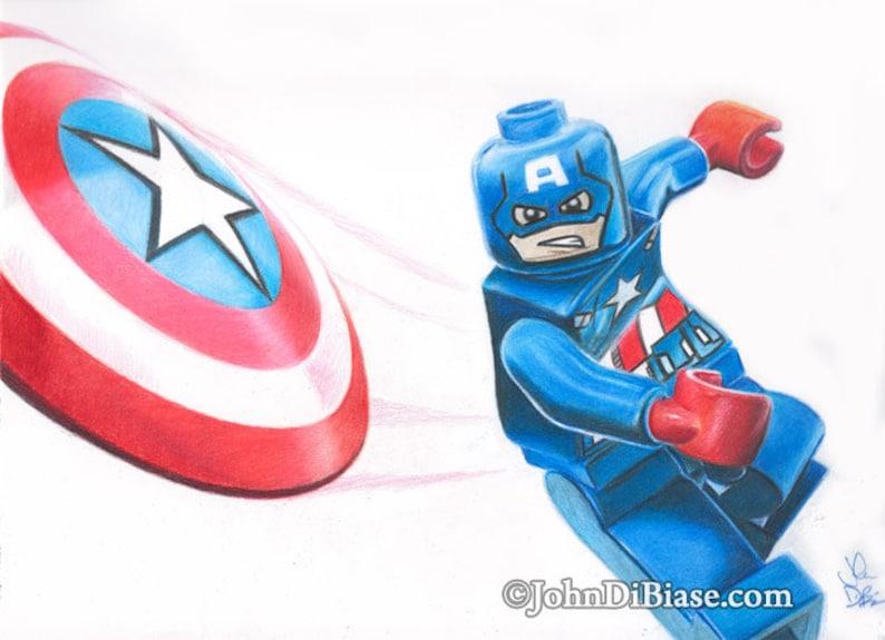 Stampa Di Disegno Di Colore Pieno Di Lego Capitan America Etsy