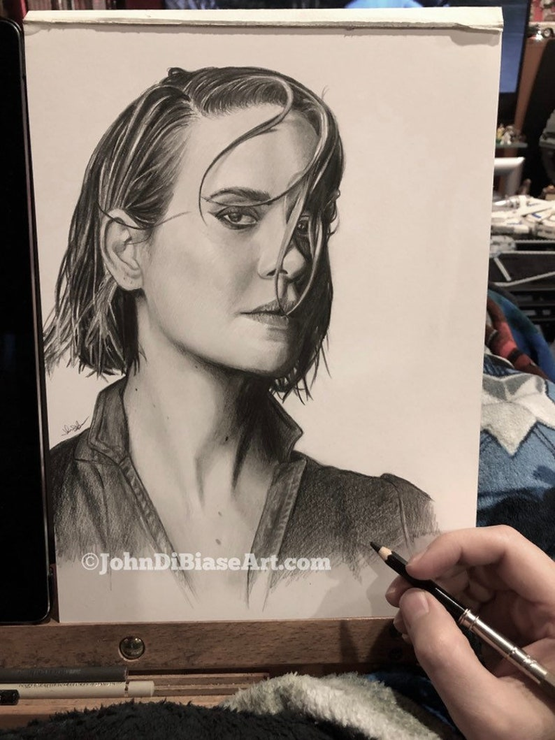 Original Drawing of Sarah Paulson NOT a print image 0