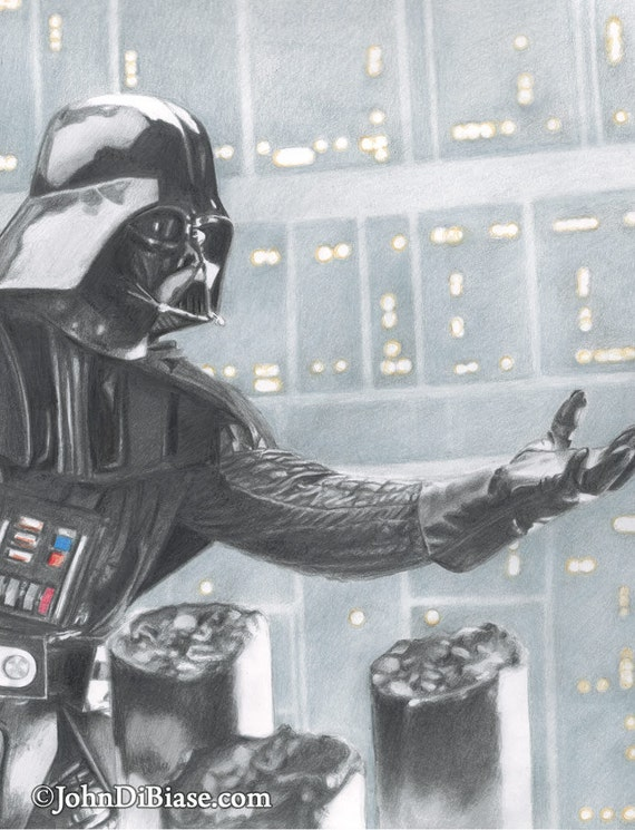 Graphite Color Drawing Print Of Darth Vader In Star Wars The Empire Strikes Back