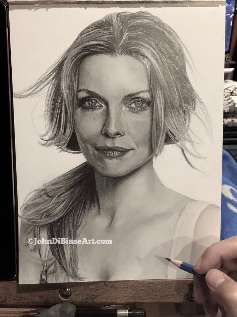 ORIGINAL Graphite Pencil Drawing of Michelle Pfeiffer 9 x 12 image 0