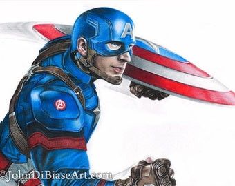 Drawing of Captain America (Chris Evans) from Captain America: Civil War
