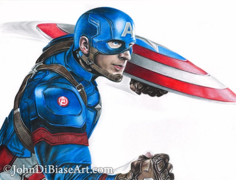 Disegno Di Capitan America Chris Evans Da Capitan America Etsy