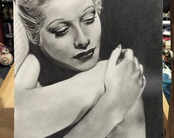 Lucille Ball Original Graphite Drawing (NOT a print)