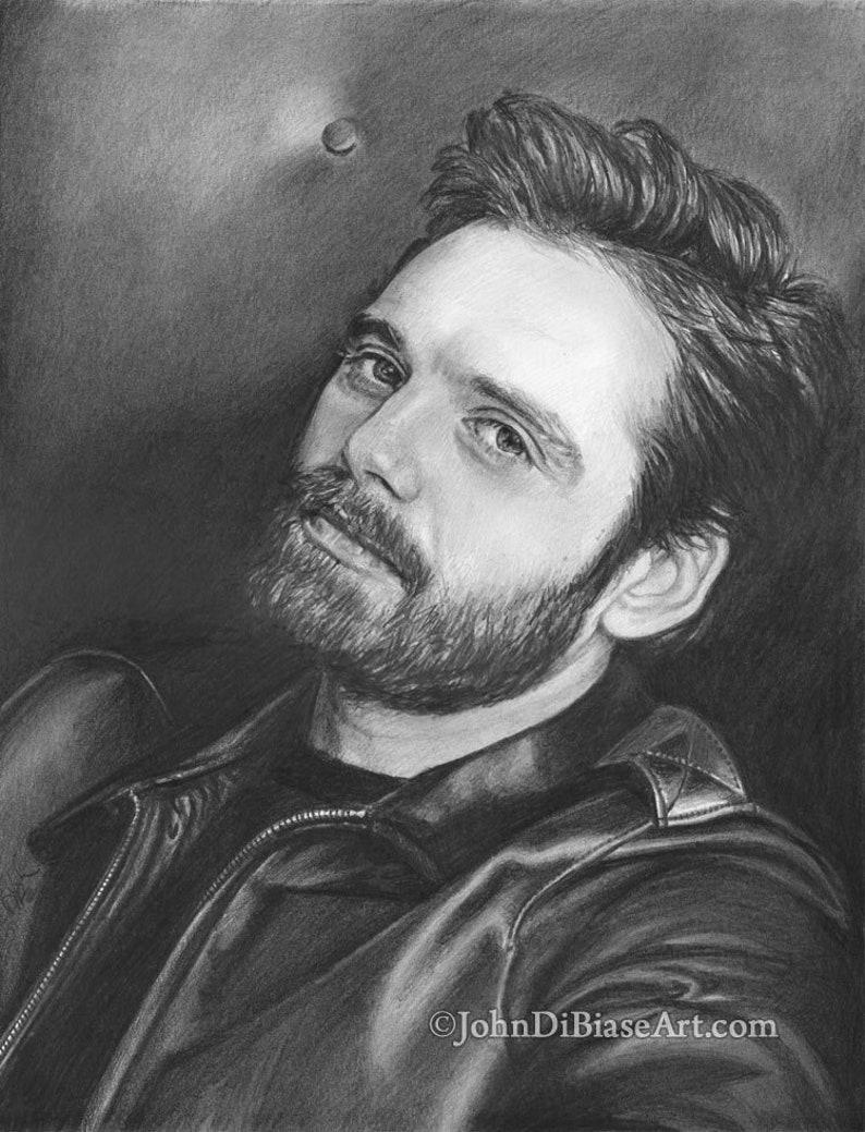 Drawing Print of Sebastian Stan All Black & White