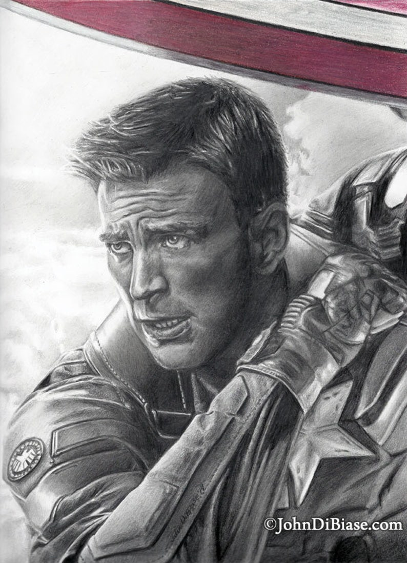 Drawing of captain america chris evans from captain america the winter soldier