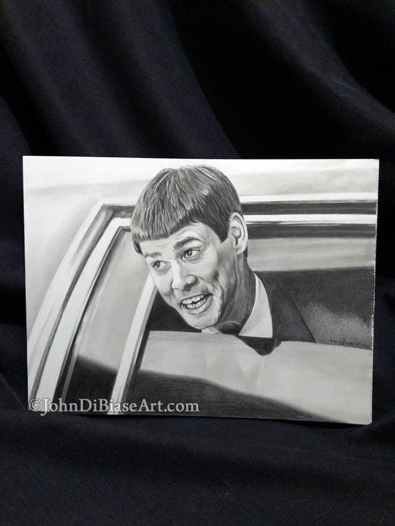 Original graphite pencil drawing of jim carrey as lloyd etsy