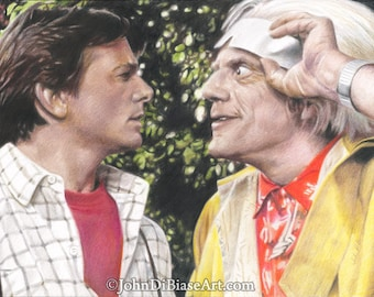 Drawing Print of Michael J. Fox as Marty McFly and Christopher Lloyd as Doc Brown in Back To The Future