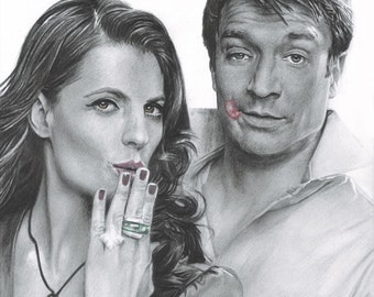 Drawing Print of Stana Katic and Nathan Fillion as Castle and Beckett from TV's Castle