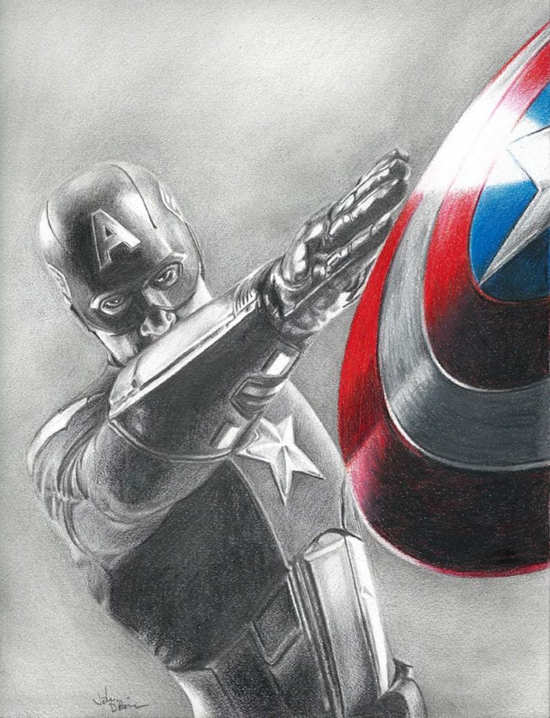 Disegno Di Stampa Di Capitan America Chris Evans Da Avengers Etsy