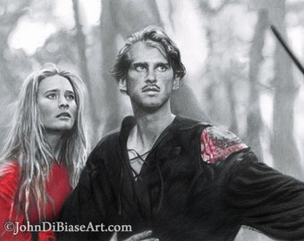 Drawing Print of Princess Buttercup and Westley in Princess Bride (8.5 x 11)