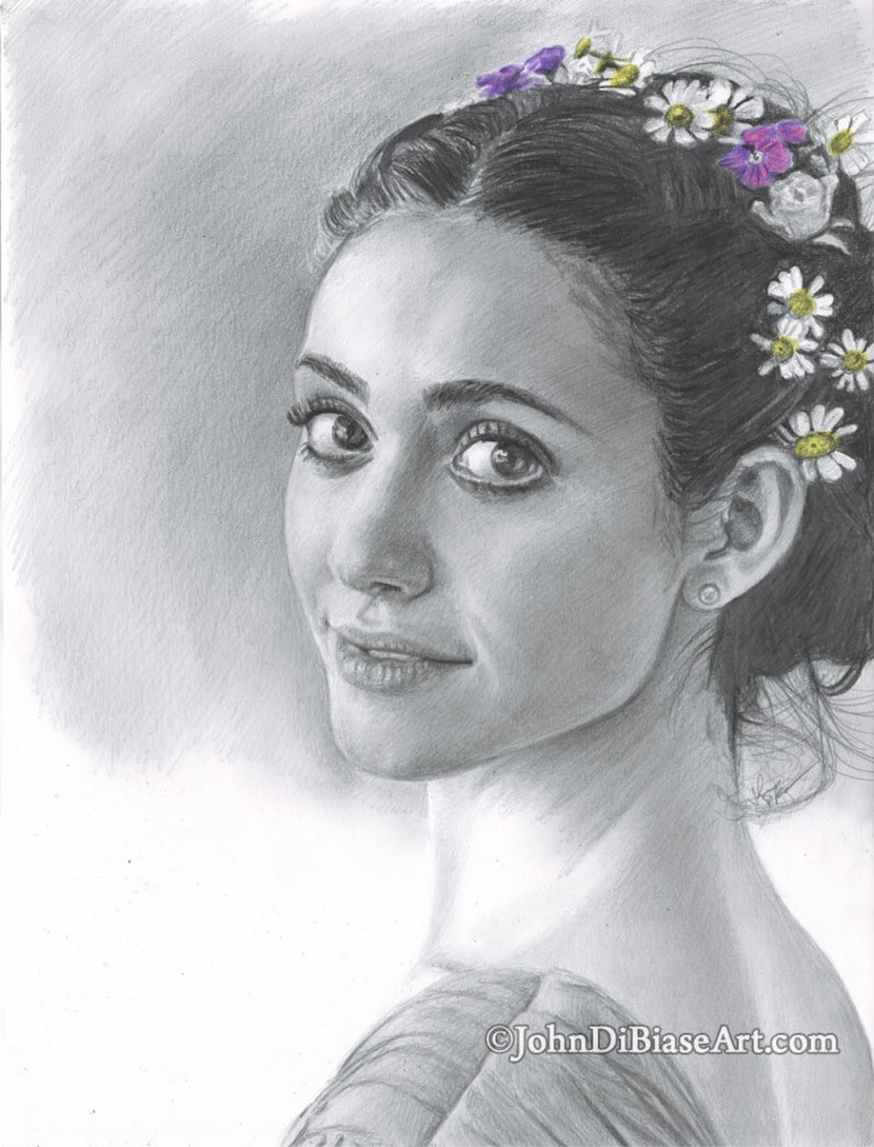 Pencil Drawing Print of Emmy Rossum image 0
