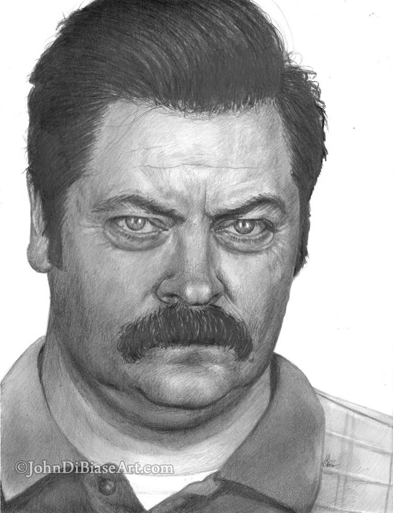 Print of Graphite Pencil Drawing of Ron Swanson Nick image 0