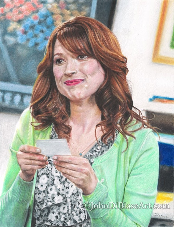 Print Of Colored Pencil Drawing Ellie Kemper As Erin Hannon From The Office 8 5 X 11