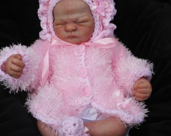 hand knitted baby girl fur coat frilly bonnet booties newborn 0/3m