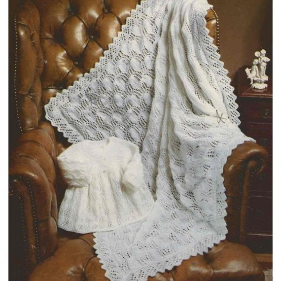 Baby Knitting Pattern For Vintage Baby Shawl Cot Blanket An Etsy