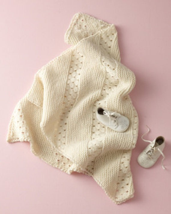 Baby knitting pattern for vintage style baby blanket shawl ...