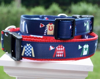Kentucky Derby Jockey Silks Collar / Jockey Jerseys / Horse racing Collar / Saratoga  Springs Collar / Kentucky Derby / S/M and M/L