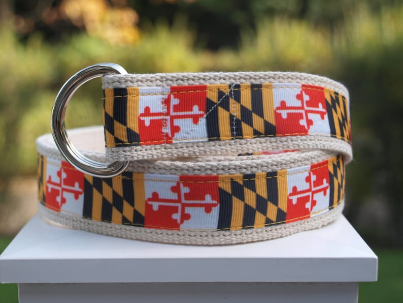 eb826e7ca98ef Maryland Flag Canvas Belt / Mens Sizes Version #1 / Maryland Terps /  University of Maryland /