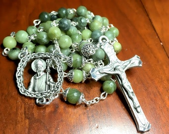 Saint Patrick Rosary with Serpentine Gemstone Beads