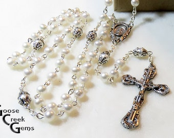 Sweet Water Cultured Pearl Rosary with Detailed Miraculous Medal Center- Mother's Day Gift