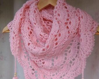 Crochet Baktus Scarf-Baktus Scarf-Crochet Triangular Scarf-Wool Shawl-Women's Scarf-Fall/Winter Accessory-with Tassels-in Baby Pink