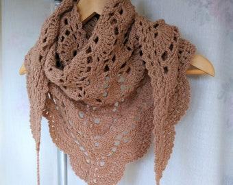 Crochet Baktus Scarf-Baktus Scarf-Crochet Triangular Scarf-Wool Shawl-Women's Scarf-Fall/Winter Accessory-with Tassels-in Toffee