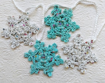 Snowflake Garland-Sparkly White/Mint Glittery Shine Silver Bunting-Christmas Decoration-Christmass Wall Hanging-Christmas Ornaments